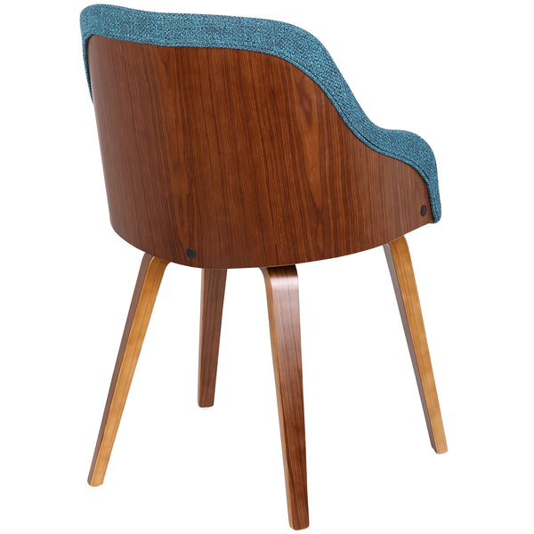 Mid Century Barrel Dining/Accent Chair - Walnut/Teal
