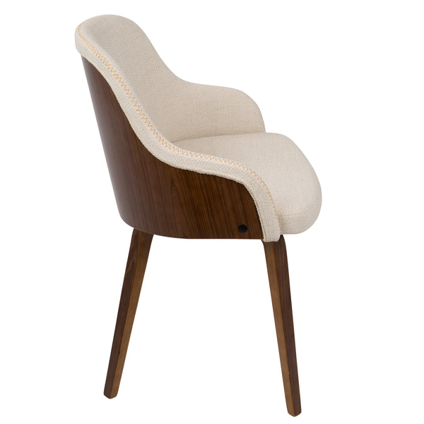 Mid Century Barrel Dining/Accent Chair - Walnut/Cream