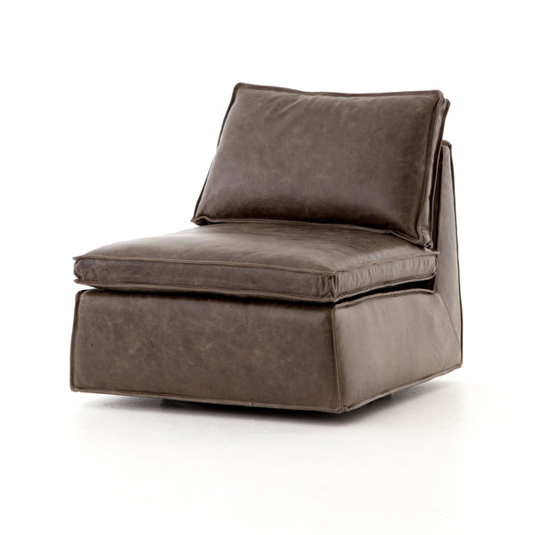 Aden Swivel Leather Arm Chair - Dark Brown - Rustic Edge