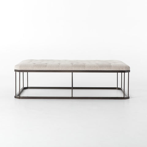 English Rectangle Ottoman - Tufted Stone/Iron