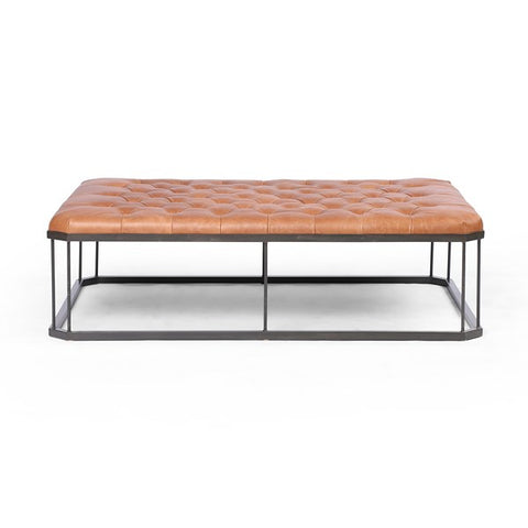 English Rectangle Ottoman - Leather/Iron