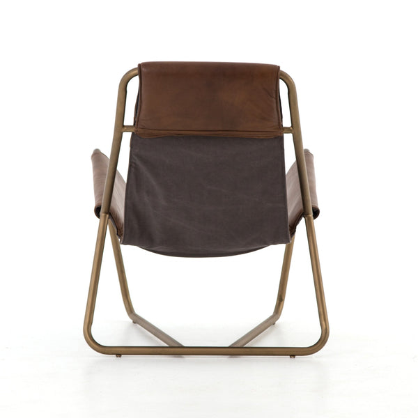 LERA CHAIR , PATINA BROWN, Carbon Canvas, Aged Brass