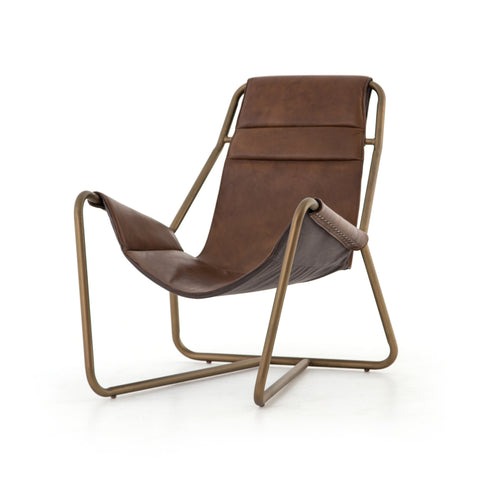 Vinney Leather Sling Chair - Brown / Brass