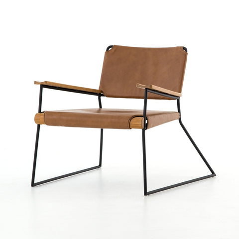 NEELEY CHAIR, Patina Copper, Carbon Canvas, Distressed Black, Ash Wood Natural