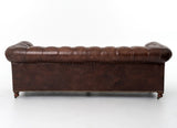 "Barrington 96"" Sofa - Dark Brown Leather - Rustic Edge"