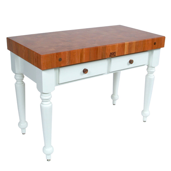 "John Boos American Cherry Rustica - Work Table 4"" thick butcher block"