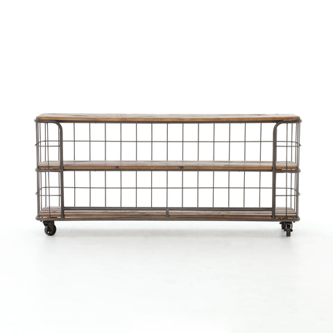Newton Console Table - Rustic Bleached Wood on Casters