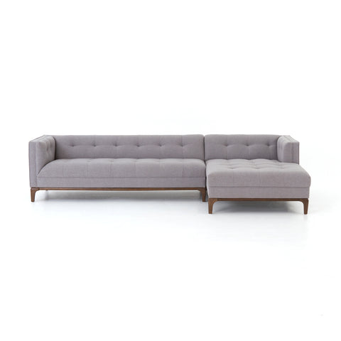 Denley Mid-Century 2pc Sectional w/Chaise - Heather Grey
