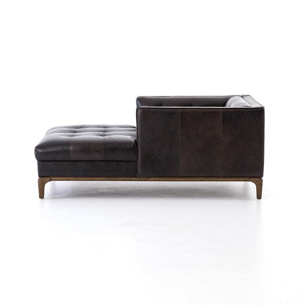 Denley Mid-Century Chaise - Black Leather