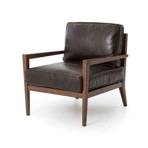 Louis Wood Frame Accent Chair - Dark Brown Leather