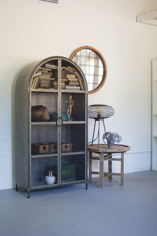 Kalalou Arched Metal Cabinet with wire mesh doors CLL1345