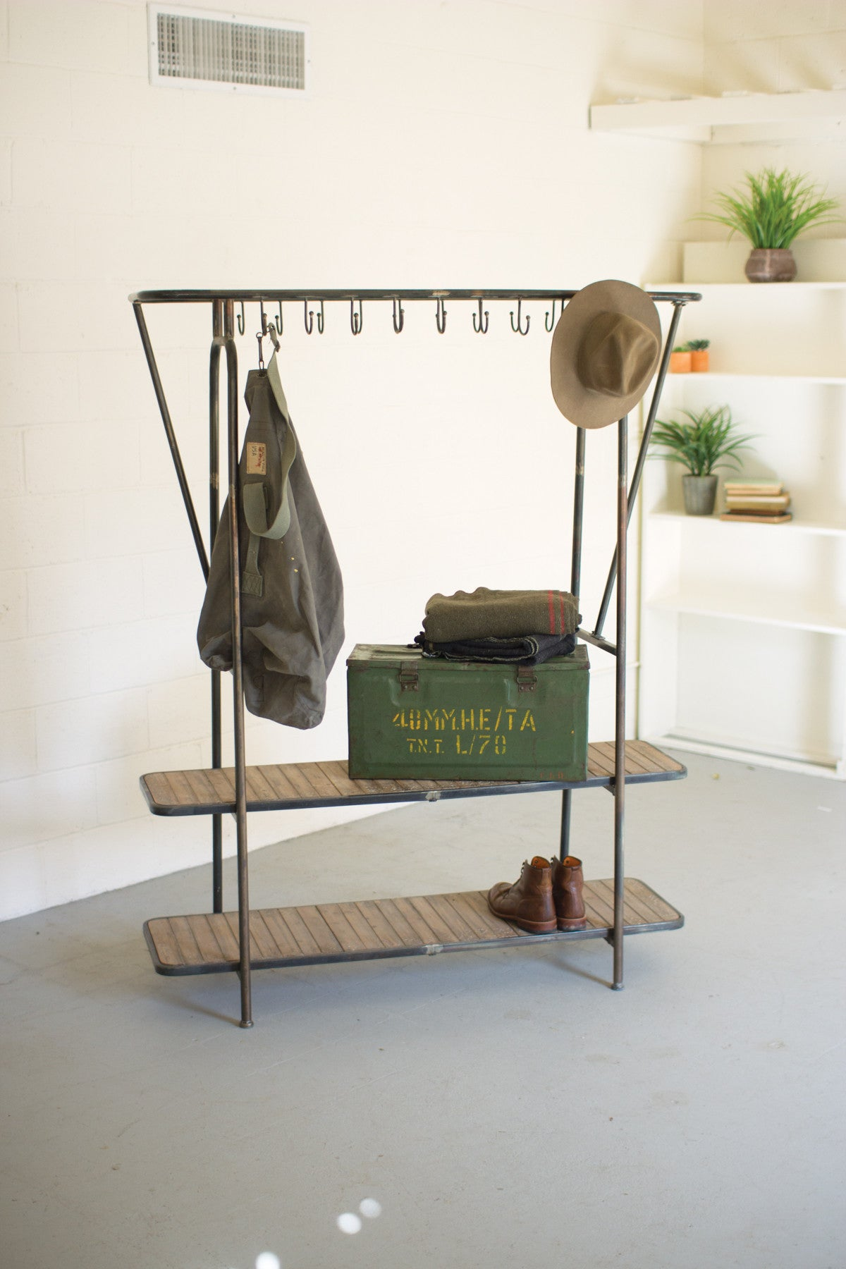 Kalalou Wood and Iron Coat Rack or Mudroom Bench CLL1361 - Houzz