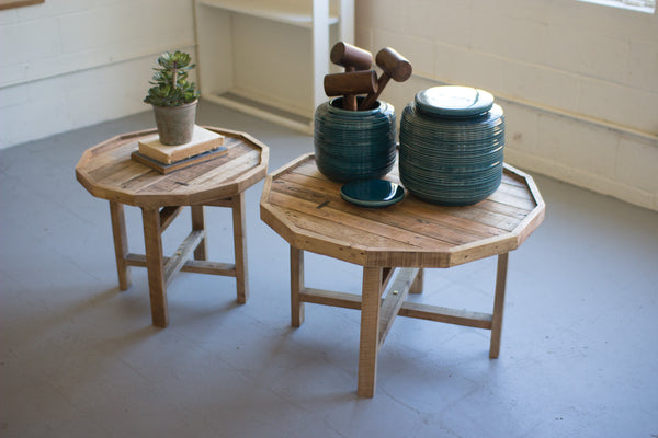 Kalalou Set of 2 Round  Recycled Wood Tables CMX2316