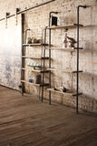"Kalalou Rustic Tall Wood and Metal Adjustable shelving unit 36"" x 84"" CQ6286"