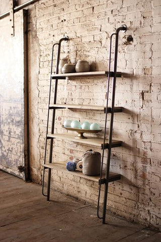 "Kalalou Rustic leaning Wood and Metal Adjustable shelving unit 36"" x 72"" CQ6293"