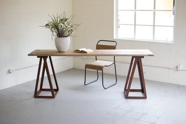 Kalalou Wood top Console with Iron Sawhorse Base Desk CQ6668