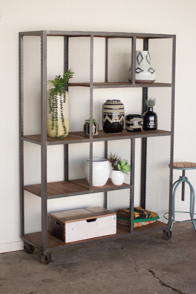 Kalalou Large Multi Level Raw Metal & Honey Wood Display Unit CQ6962