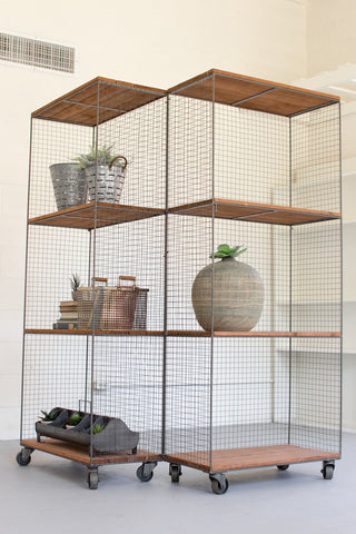 Kalalou Hinged Raw Metal & Honey Wood Shelving Units On Casters CQ6963