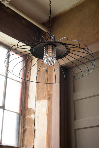 Kalalou CQ6967 Canopy Pendant Light With Glass Gems