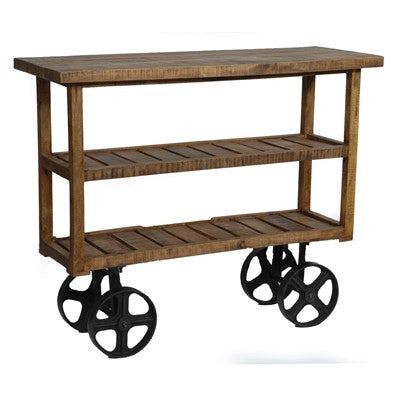 Bengal Manor Mango Wood Industrial Cart CVFNR302