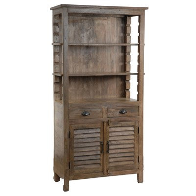 Crestview Bengal Manor Mango Wood Grey Bookcase/Kitchen Hutch CVFNR303