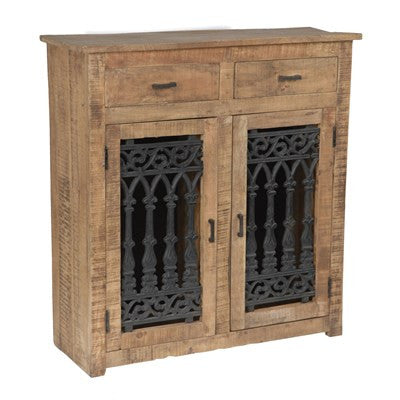 Crestview Bengal Manor Mango Wood and Solid Metal Cabinet CVFNR310