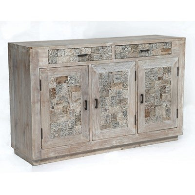 Crestview Bengal Manor Reclaimed Mango Wood Tiles Sideboard CVFNR311 - Rustic Edge
