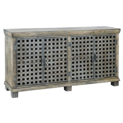 Crestview Bengal Manor Metal Lattice Work and Mango Wood Sideboard CVFNR317 - Rustic Edge