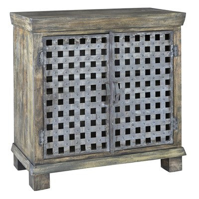 Crestview Bengal Manor Metal Lattice Work and Mango Wood Cabinet CVFNR318 - Rustic Edge