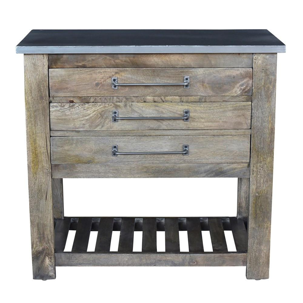 Earwyn Mango Wood 3 Drawer Charcoal Grey Chest w/ Metal Top