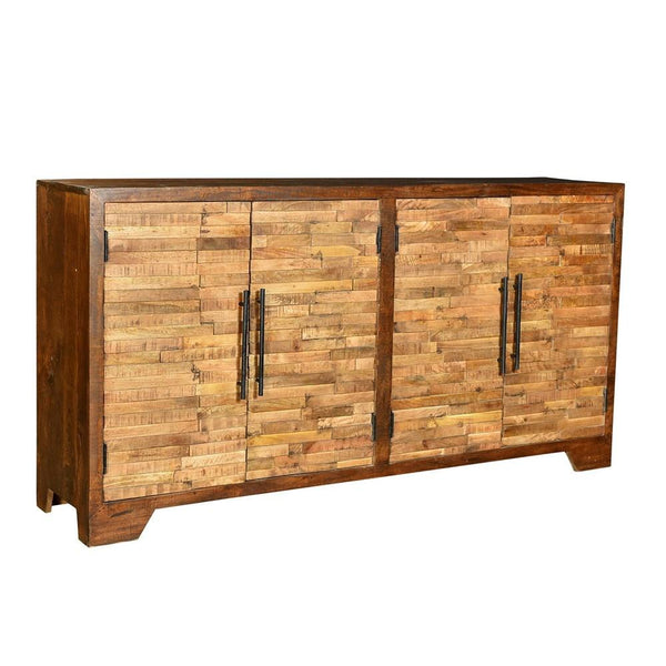 Georgiana Mango Wood Random Strips 4 Door Two Tone Sideboard