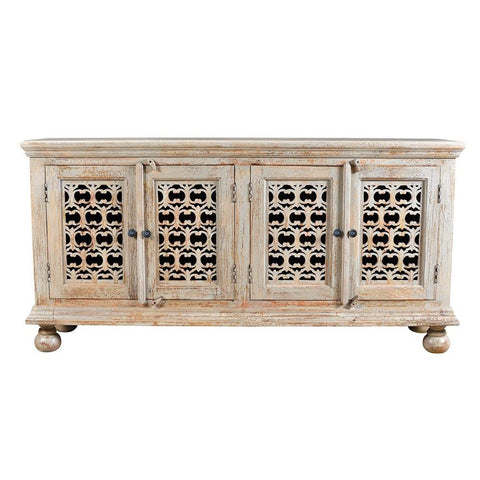 Hanford Mango Wood Aged Ash 4 Door Carved Sideboard