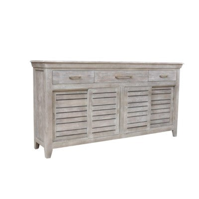 Bengal Manor Wood 3 Drawer 4 Sliding Door Grey Sideboard CVFNR412 - Rustic Edge