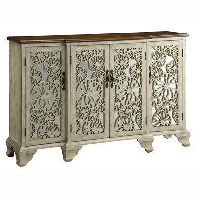 Crestview Hawthorne Antique White 4 Door Sideboard CVFZR1075 - Rustic Edge