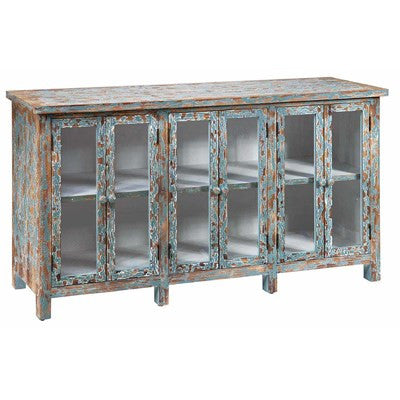 Crestview Dawson Creek Weathered Oak and Cyan 6 Door Sideboard CVFZR1220 - Rustic Edge