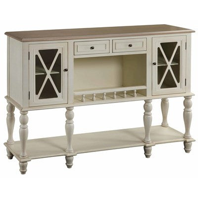 Crestview Jamestown White Sideboard with Light Wood Top CVFZR1264