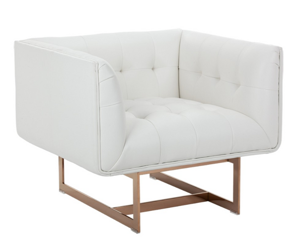 Kaison Arm Chair - White Leather / Rose Gold