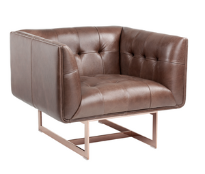 Kaison Arm Chair - Brown Leather / Rose Gold