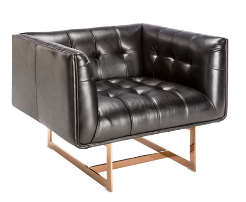 Kaison Arm Chair - Black Leather / Rose Gold