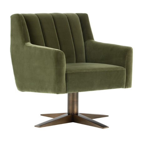 Paulina Swivel Arm Chair - Olive Velvet