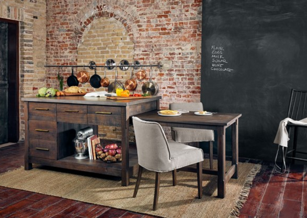 Netta Kitchen Island - Distressed Black Oak w/ Concrete Top