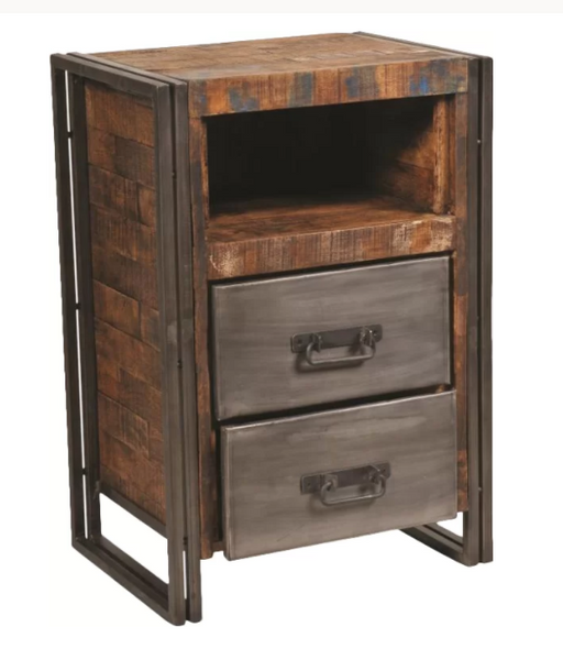 Abran Industrial Reclaimed Wood & Metal End Table - Rustic Edge