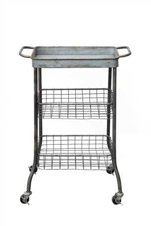 Creative Co-op Tin Cart on Casters With 2 Wire Shelves DA5057 - Rustic Edge