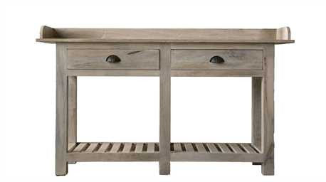 Wood Kitchen Sideboard/Table w/2 drawers white wash finish #DA6439 by Creative Co-op