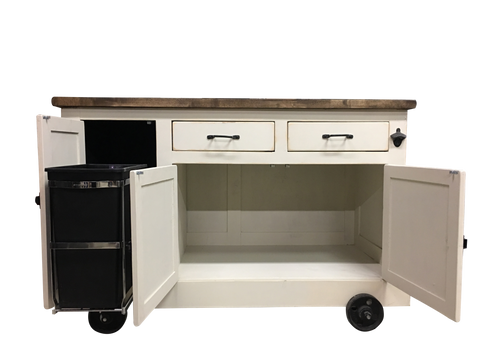 Custom Farmhouse Industrial Kitchen Island w/Roll Out Trash Container