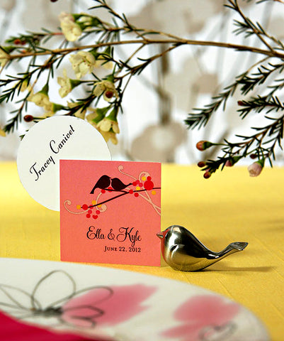 Love Bird Place Card Holders (Set of 4) Brushed silver