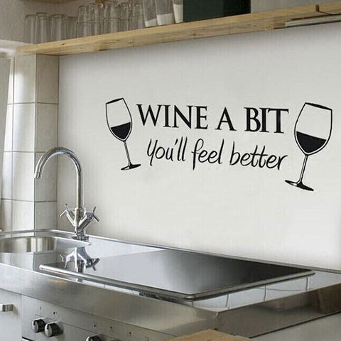 """Wine a Bit"" Wall Sticker Art Decal - Rustic Edge"