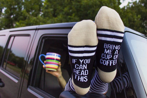 Chic Funny Sayings Wine/Beer/Coffee Socks Unisex - Black Friday Deals - Rustic Edge