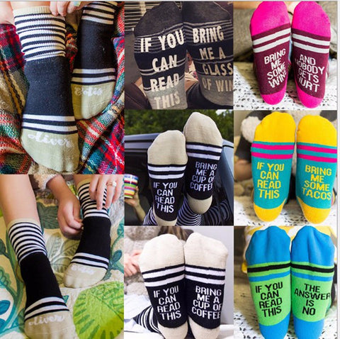 "Chic Funny Sayings ""Wine/Beer/Coffee Socks Unisex"