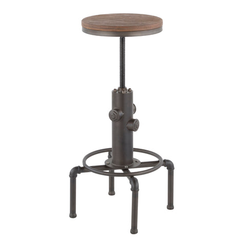 Urban Loft Industrial Barstool - Antique Brown Metal